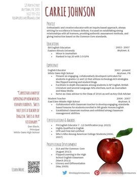 creative teacher resume reflection template by redappleresumes. Black Bedroom Furniture Sets. Home Design Ideas