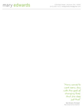 Creative Teacher Resume - Simply Lime Classic Template