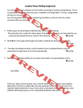 Creative Theme Writing (mini project) *detailed rubric & theme list included