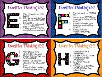 Creative Thinking A-Z Task Cards { Early Finishers , Enrichment , Centers}