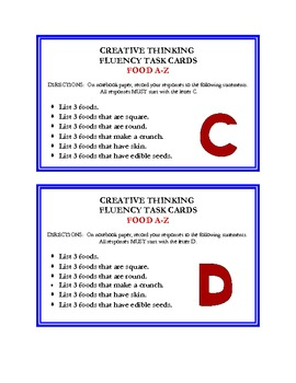 Creative Thinking Fluency Task Cards - Food A - Z