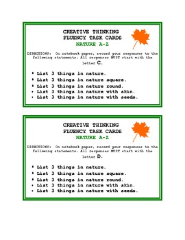 Creative Thinking Fluency Task Cards - Nature A - Z