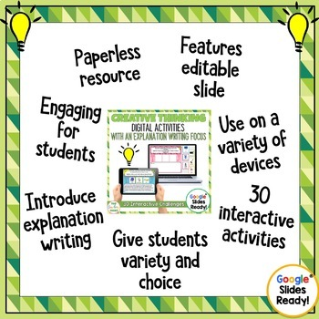 Creative Thinking Interactive Paperless Digital Writing Activities Google Drive®