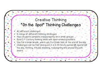 Creative Thinking 'On the Spot' Challenge cards