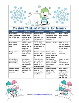 January Creative Thinking Prompts Calendar