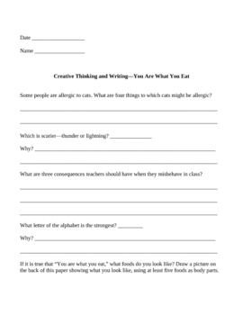 Creative Thinking and Writing Activities For Elementary Students