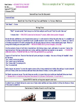 Creative Writing Activity - Directions, Rubric, and Samples
