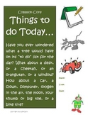 """Creative Writing Activity """"Things to do Today"""" Common Core (3, 4, & 5)"""