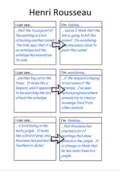Creative Writing - Art & Literacy - Henri Rousseau