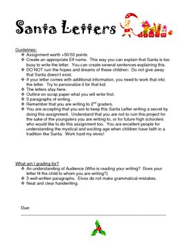 Creative Writing Assignment for High Schoolers - Santa Letters