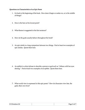 The Odyssey or The Iliad Fun Creative Writing Assessment