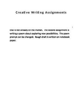 Creative Writing Assignments