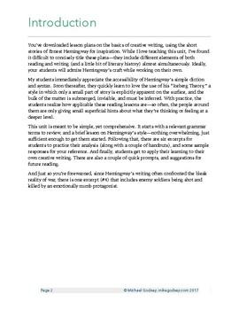 Creative Writing Basics: Emulating Ernest Hemingway  CCSS Aligned