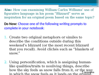 Creative Writing Blizzard Poem Inspired by WC Williams Lesson Powerpoint Format