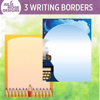 Creative Writing Borders Clip Art in Color & BW