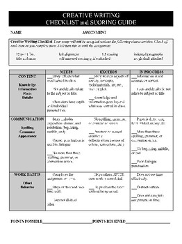 Creative Writing Assignment Checklist & Scoring Guide
