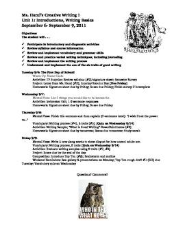 Creative Writing Course Unit Agendas