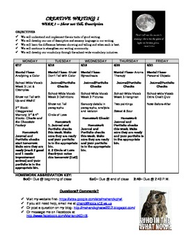 Creative Writing Course Weekly Agendas