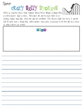 Creative Writing - Crazy Silly Story Prompts with Planning & Writing Space