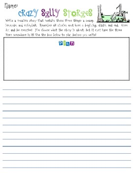 Creative Writing - Crazy Silly Story Prompts with Planning & Writing Space #2