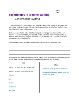 Creative Writing Exercise CONSTRAINED WRITING 50 Words...
