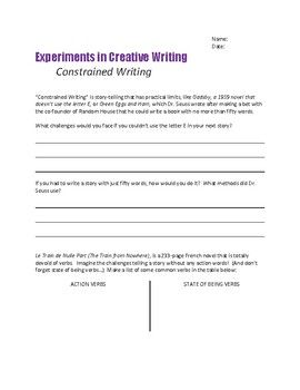 Creative Writing Exercises CONSTRAINED WRITING No Verbs