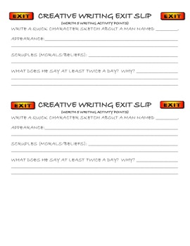 Creative Writing Exit Slips