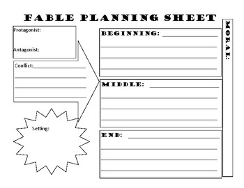Creative Writing Fable Planning Sheet