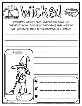 Creative Writing Halloween Monster Selfie-Themed
