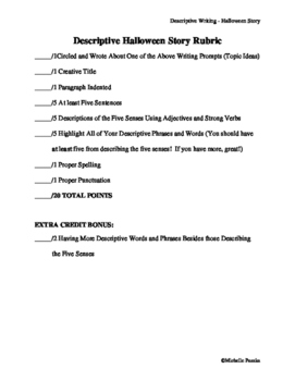 Creative Writing Halloween Writing Assignment Using Descriptive Adjectives