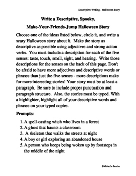 Creative Writing Halloween Writing Assignment Using Descri