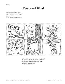 Creative Writing Ideas-Sequence & Write: Cat and Bird