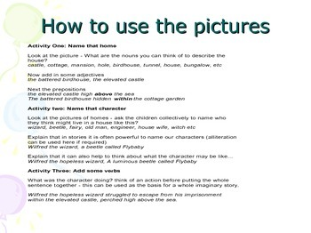 Creative Writing - Ideas and pictures for settings and characters