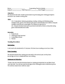 Creative Writing Introduction Lesson Plan