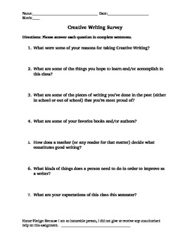Creative Writing Introductory Survey