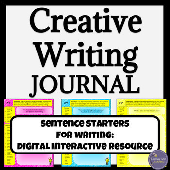 Creative Writing Prompts Digital Interactive Notebook for Google Drive
