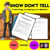 Show Don't Tell Creative Writing Worksheets for Distance Learning