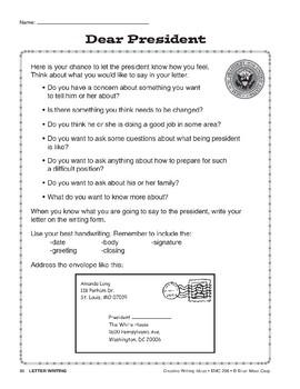 Creative Writing-Letter Writing: Dear President