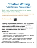 Creative Writing:  Lost Item and Ransom Note