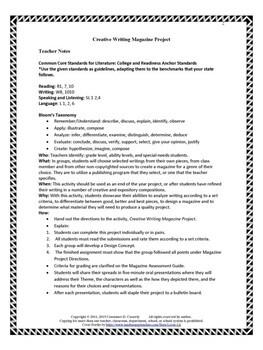 Writing Activity: Creative Writing Magazine Project