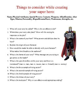Creative Writing- Superhero Story with Pre-writing, Assignment, and Rubric