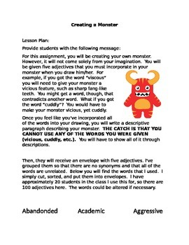 Creative Writing Monster Activity- Halloween