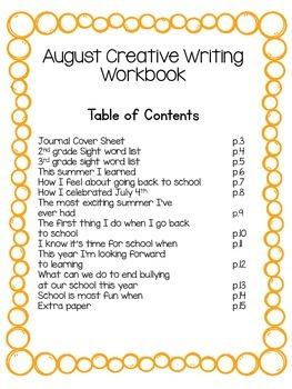 Freebie!! No Prep August Writing Workbook