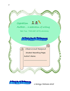 Writing Workshop, Operation Author Part Two The Art of Planning