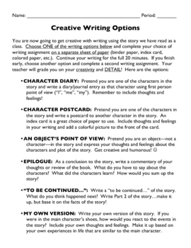 Creative Writing Options After Reading a Story
