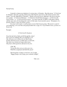 Creative Writing Parody Poem criteria and example