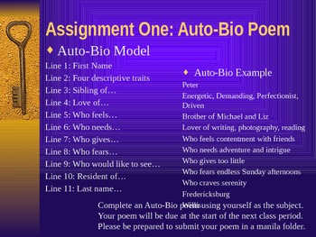 Creative Writing: Poetry - Introduction to Poetry & Auto-Bio Poem Powerpoint