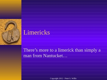 Creative Writing: Poetry - The Limerick Notes and Activity Powerpoint