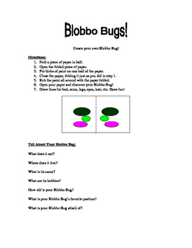 Creative Writing Prompt - Blobbo Bugs!