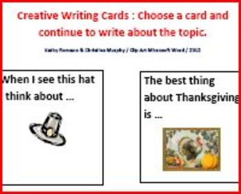 Creative Writing Prompt Cards for Thanksgiving